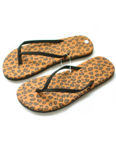 Flat Leopard Printed Cloth Womens Flip Flops