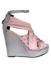 Satin Fabric Ankle Strap Women's Wedge Sandals