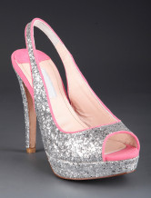 Silver Sexy Sequin Peep Toe Sheepskin Womens Sling-Back Shoes