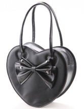 Purple Sweet Lady Heart Shaped PVC PU Womens Tote Bag