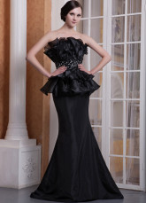 Unique Black Organza Taffeta Strapless Floor Length Prom Dress