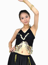 Black Imitated Silk Sequin Belly Dance Bra