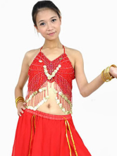 Red Imitated Silk Sequin Belly Dance Bra