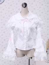 Lolitashow White Cotton Lolita Blouse Long Hime Sleeves Lace Trim Bow
