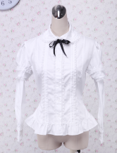 White Long Sleeves Bow Cotton Lolita Blouse