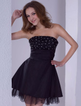 Black Strapless Beaded Satin Cocktail Homecoming Dress