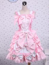 Pink-Sleeveless-Bow-Ruffle-Cotton-Lolita
