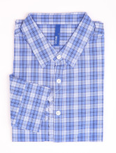 Casual Blue Check 100% Cotton Mens Shirt