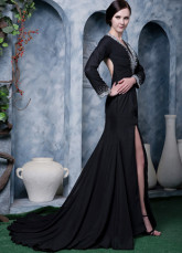 Black Chiffon Beading Long Sleeves V-neck Side Splitting Prom Dress