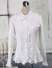 Lolitashow Sweet White Cotton Lolita Blouse Long Sleeves Ruffles Lace Trim Turn-down Collar