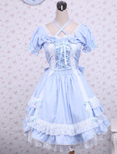Blaues Lolita Kleid aus Baumwolle mit kurzen rmeln und weien Spitzen