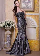 Black Taffeta Strapless Beading Prom Dress