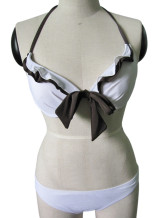 White black 80% Nylon 20% Lycra Womens Tankini Skirt Swimsuit