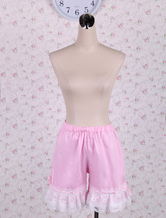 Lolitashow Cotton Pink Lolita Bloomers Shirring Lace Trim