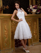 Glamorous White Halter A-line Lace Knee-length Wedding Dress