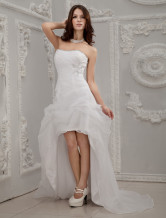 White A-line Strapless Sweetheart Knee Length Tulle Bridal Wedding Dress