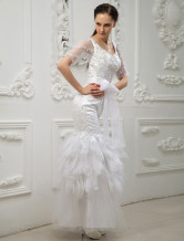 White Square Neck Mermaid Trumpet Lace Bridal Wedding Dress