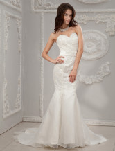 White Strapless Sweetheart Mermaid Trumpet Yarn Wedding Dress