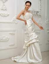 White Sweetheart Strapless Mermaid Trumpet Satin Bridal Wedding Dress