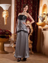 Elegant Strapless Pleated Beading Taffeta Ball Gown
