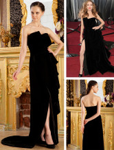 Black Satin Strapless Side Splitting Angelina Jolie Oscar Dress