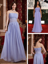 Charming Purple Chiffon Strapless Sweep Train Oscar Dress