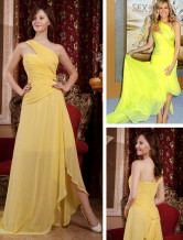 Daffodil Chiffon One Shoulder A-line Sweep Women's Celebrity Dress