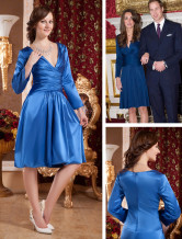 Glamorous Royalblue Deep V-Neck Satin Chiffon Kate Middleton's Engagement Dress