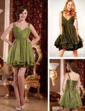 Gossip Girl Fashion Pleated Knee Length Taffeta Celebrity Dress