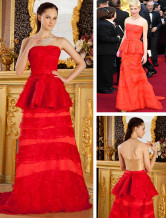 Orange Organza Strapless A-line Michelle Williams Oscar Dress