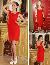 Seductive Red Satin Ladies Gossip Girl Fashion Dress