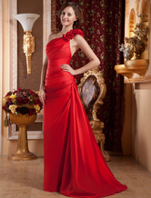 A-line Red Taffeta One Shoulder Flower Decoration Prom Dress