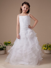 Fantastic White Satin Flower Girl Dress