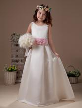 Princess White Sleeveless Flower Sash Satin Flower Girl Dress