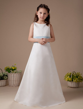 Romantic White Satin Sash Bow Flower Girl Dress