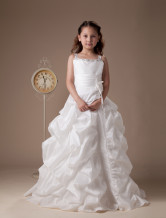 White Sleeveless Beaded Taffeta Flower Girl Dress