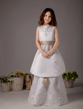 Charming White Sleeveless Sash Satin Flower Girl Dress
