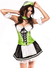 Green White Acrylic Spandex Sweetheart Lace Up Sexy Maid Costume