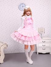 Lolitashow ロリータジャンパースカート,ピンク リボン ラッフル スィート 女の子らしさ満点 コットン