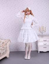 Cotton White Sleeveless Sweet Lolita Blouse And Ruffled Lolita Skirt