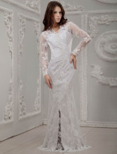 White Long Lace Sleeves V-Neck Bridal Wedding Dress