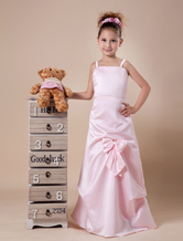 Pink Spaghetti Ruched Satin Flower Girl Dress