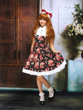 Cotton Black Floral Cosplay Lolita Dress