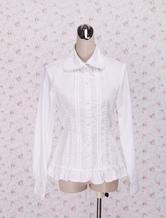 Lolitashow White Cotton Lolita Blouse Long Sleeves Waist Belt Ruffles Trim