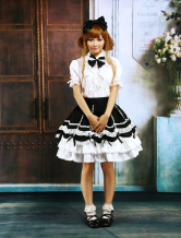 Cotton White Lolita Blouse And Black Lolita Skirt Outfit