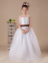 Romantic White Spaghetti Sash Satin Flower Girl Dress