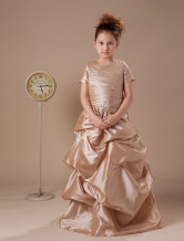 Short Sleeves Pleated Bodice Ruched Satin Flower Girl Dress