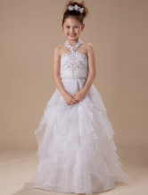 White A-line Halter Satin Floor Length Flower Girl Dress