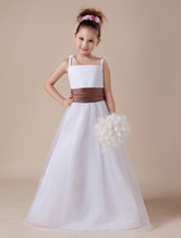 White Sleeveless Sash Spaghetti Satin Flower Girl Dress