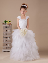 White A-line Square Floor Length Flower Girl Dress
